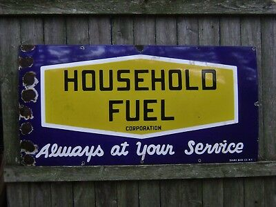 "ANTIQUE PORCELAIN HOUSEHOLD FUEL SIGN GAS OIL ""COBALT BLUE"" ~SHANK SIGN NY~  20s"