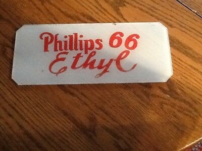 """Vintage Phillips 66 Ethye  Glass Gas Pump Plate. 10 1/4"""" x 4 1/8"""" Frosted"""