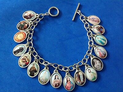 Rare Custom Design Color Saint Medal Charm Bracelet Lot Stainless Steel 8