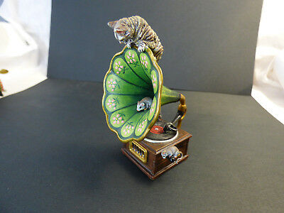 Vienna Bronze Miniature Cat on Victrola Gramophone with Mice stamped FBW