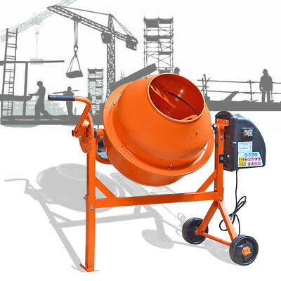 63L 220W Electric Concrete Cement Mixer Drum Portable Plaster Mortar Machine