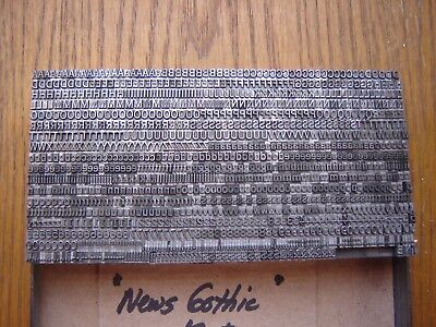 "Letterpress Metal Type  "" News Gothic""  12 Point"