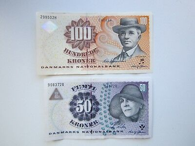1997 Years Denmark 50 and 100 Kroner banknotes