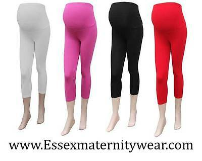 Cropped Maternity Leggings Size 6 - 18 Black, Red, White & Pink