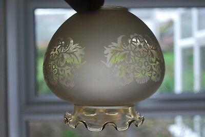 Victorian etched glass lampshade, coffee tint, set of three,