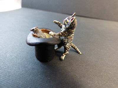 """Vienna Bronze Miniature Cat - With Top Hat and Mouse, Just 1"""" Tall marked FBW"""