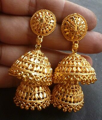 2f4dfdf07 22K Gold Plated 2 Steps Jhumka Earrings Indian Pakistani wedding party Set.