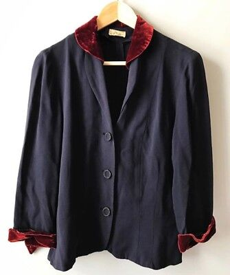 Vintage 1940s Navy Crepe Jacket with Red Velvet Collar & Cuffs