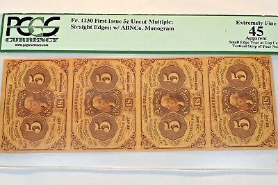5 Cent First Issue Fractional Currency Fr #1230 Pmg 45 Strip Of Four Uncut