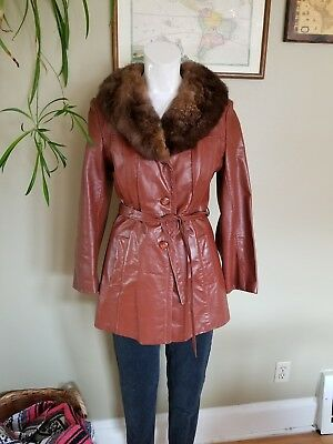 70s vintage brown tan leather jacket with fur collar