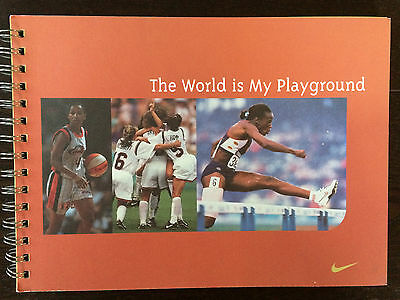 """Vintage 1999 Nike """"The World is My Playground"""" Girls Journal Inspirational book"""