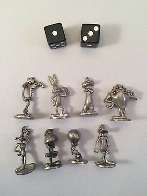 8 Warner Brothers Pewter Looney Tunes Monopoly Replacement Tokens with Dice