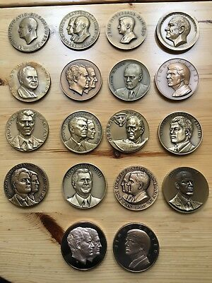 *Complete*  Official Inaugural 18  Bronze Large Medal President Set 1953-2009