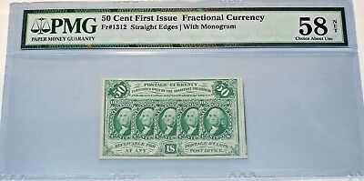 50 Cent First Issue Fractional Currency 58 Choice About Unc. Pmg With Monogram
