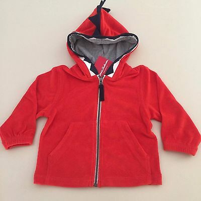 """HANNA ANDERSSON  Baby Boy's RED """"TERRY HOODIE JACKET""""  18-24 months, 80 cm NEW!"""