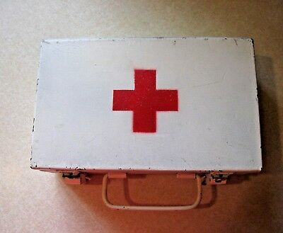 Vintage First Aid Kit- Heavy Metal- Wall Mount- Fully Stocked