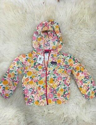 NWT Patagonia Girls Baggies Hooded Jacket / Pink And Yellow Fruit / 3T