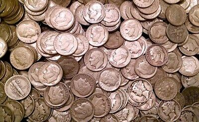 Lot Of 500 ($50 Face Value) 1964 And Before 90% Silver Dimes