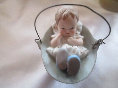 Bisque Baby in Basket Ornament
