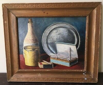 Still Life Oil On Board Painting. Naive Primitive.