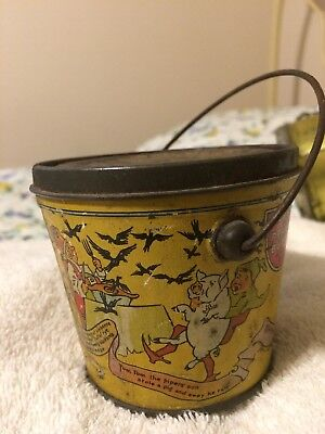 Red Seal Peanut Butter Advertising Tin Pail Complete W/lid And Bail Handle.