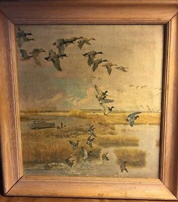 Vintage Geese South For The Winter John Clymer Signed Framed Art Print Canvas