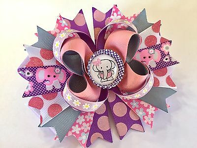 "Little Elephant Handmade Boutique Stacked Hair Bow W5.25 X L5.0"" X H2.0"""
