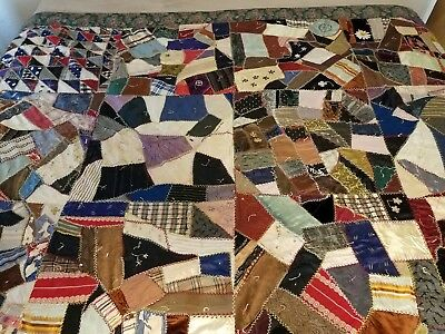 "ANTIQUE CRAZY-QUILT BRIGHT COLORS REVERSIBLE FLORAL PRINTED SATIN BACK 85"" x 65"""