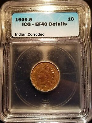 1909 S Indian Head Cent ICG Certified EF 40 Details