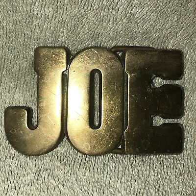 """""""JOE"""" 70s CHUNKY NAME BELT BUCKLE BBB Cut Out Block Letters Solid Brass VINTAGE"""