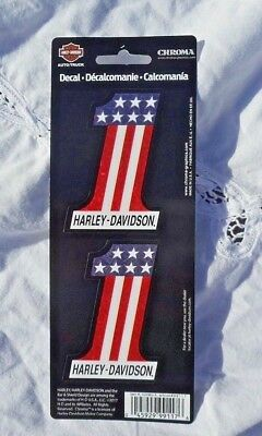 """Harley Davidson  #1 Red White Blue Reflective Decal Set Of Two 2"""" x 3"""" New Licen"""