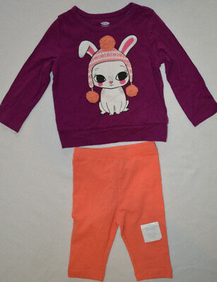 Baby Girl Old Navy Bunny Purple & Coral 2 Pc. Outfit Size 12-18 Months
