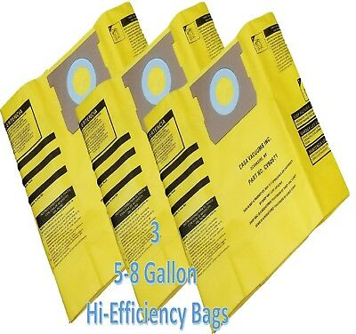 Shop Vac 5-8 GALLON High Efficiency Bags-3PK-Fits All Tank Sizes by Casa Vacuums