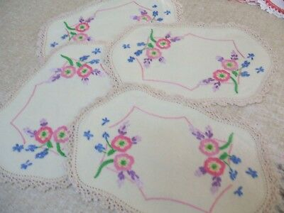 Vintage Embroidered Linen  Doilies With Pictures. All From Grannys Trunk Used