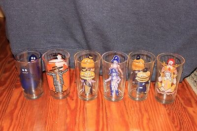 McDonald's Collector Series 1975-76 Complete Set of 6 Glasses Vintage Drinking