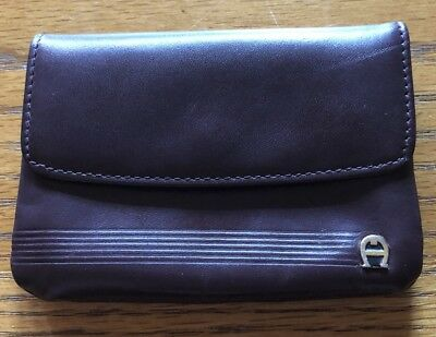 Etienne Aigner Vintage Coin Purse Wallet Card Holder Rich Red Brown A+ Cond