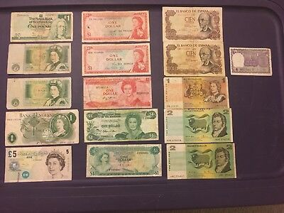 Mixed Lot of (16) Old World Currency (Paper Money) - Spanish & British (Colony)