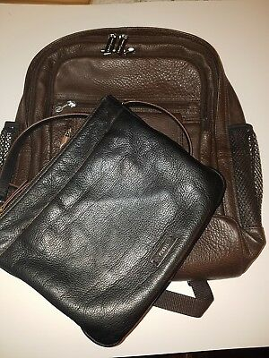 Lot of 2 New Ameri Leather backpack  brown & Fossil crossbody bag black