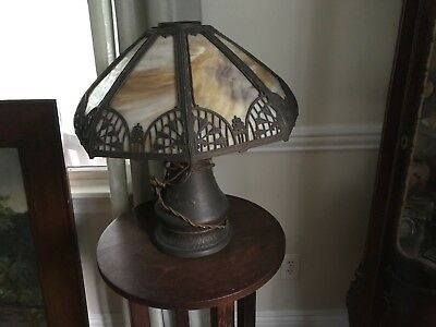 Arts and crafts slag stained glass lamp mission unusual base all original works!