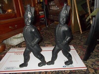 Antique Pair 19th C. American Heavy Cast Iron Hessian Soldier Fireplace Andirons