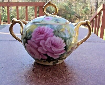 C. 1900+ Antique D & C Co., France Covered Sugar Bowl - Cabbage Rose Handpainted