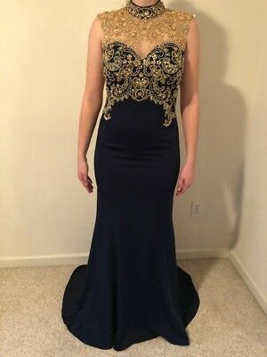 Prom Gown Cocktail Party Ball Gown  Navy Blue / Gold Size 10.  Make me an offer!