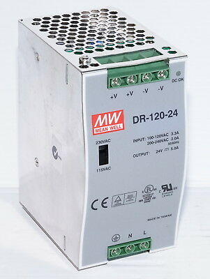 Mean Well MW DR-120-24 24VDC 5A Power Supply 100-240VAC Input