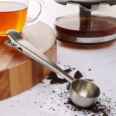 Stainless Steel Ground Coffee Measuring Spoon Scoop with Bag Sealing Clip Silver