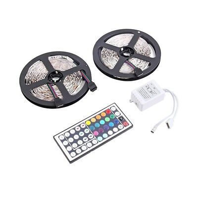 10M 600LEDS 3528 SMD RGB 2X 5M LED light strip + 44 Key IR Remote Controller CG