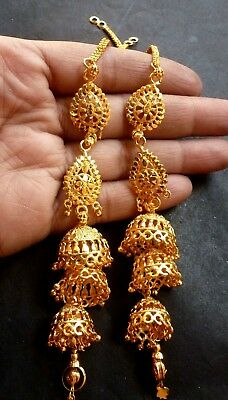 c851c8d4c 22K Gold Plated 3 Steps Jhumka Earrings with Long Chain Indian Pakistani Set