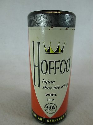 Vintage Hoffco white liquid shoe dressing glass bottle and box