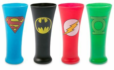 DC Comic Justice League 4 Collectors Glasses  Batman, Flash,  Lantern, Superman