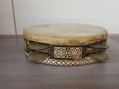 antique Middle East Damascus 25cm Goat Skin Hand Drum Tambourine Wood Inlaid