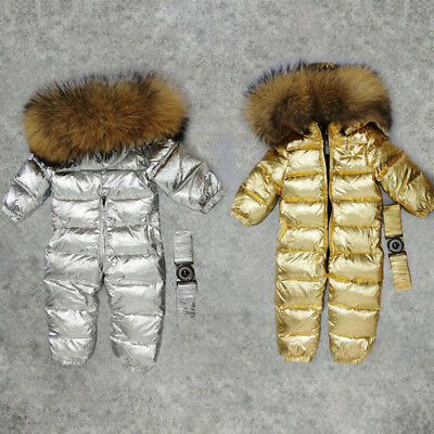 Baby Winter White Duck Down Rompers Hooded Snowsuit Children Jumpsuit
